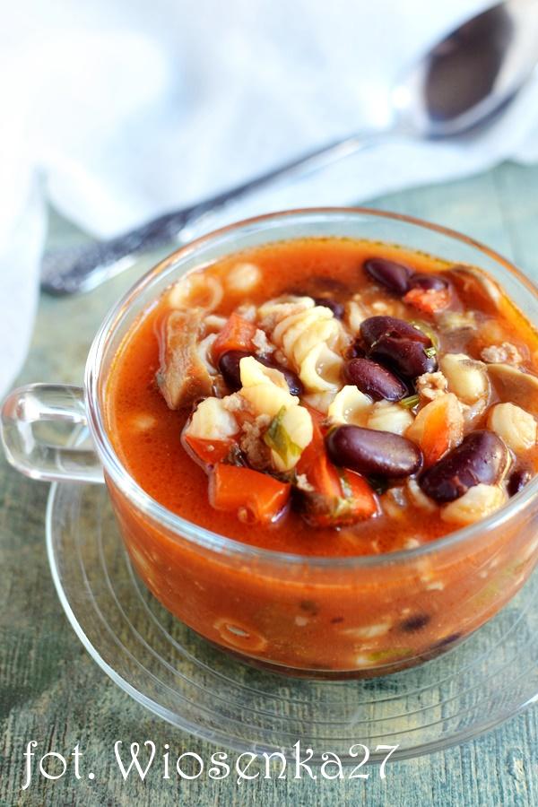 Zupa z fasolą i mielonym mięsem